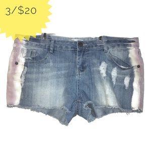 No Boundaries Distressed Bleached Denim Shorts